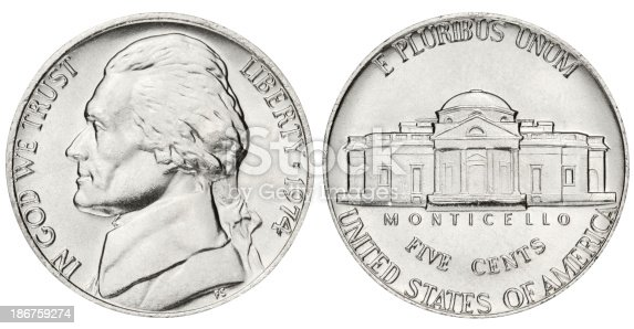 US five cents coin isolated on white with clipping path