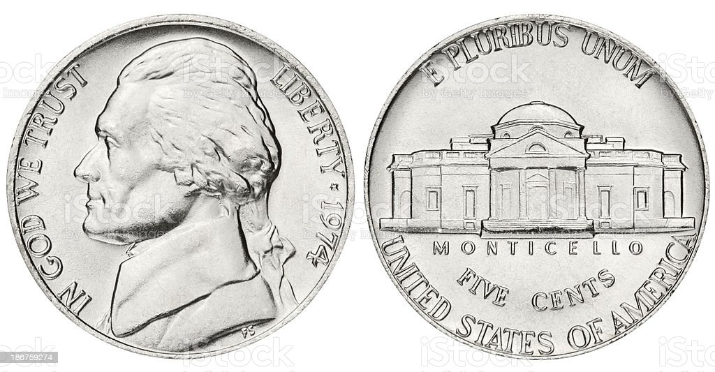 Nickel with clipping path on white background stock photo