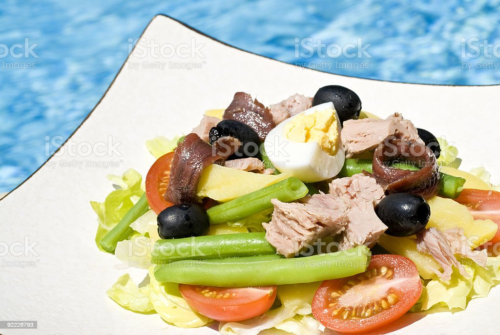 Nicoise Salad by the Pool royalty-free stock photo