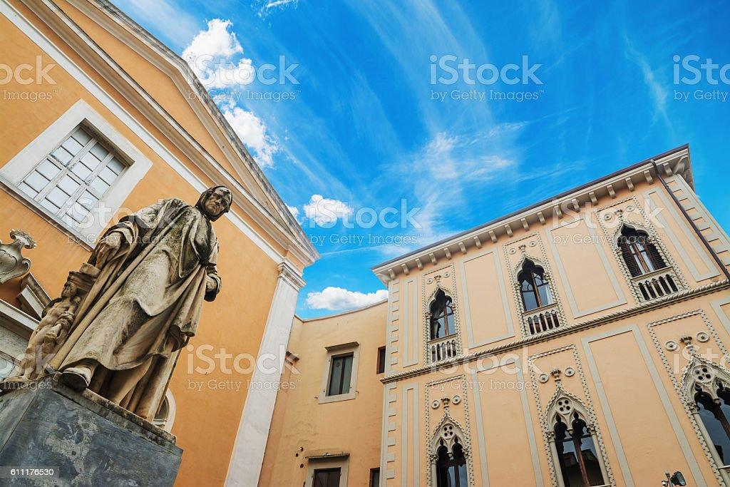 Nicola Pisano statue with Santa Maria del Carmine church stock photo
