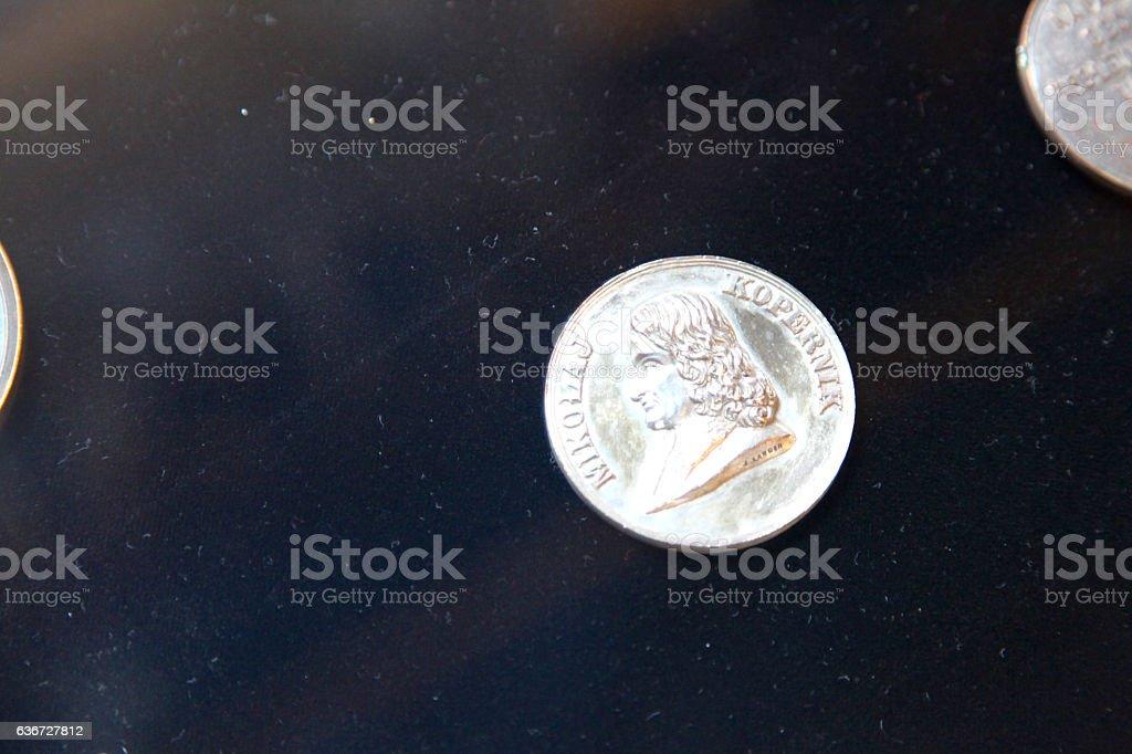 Nicolaus Copernicus coin famous people polish astronomer stock photo