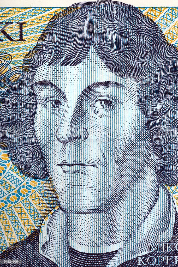 Nicolaus Copernicus portrait from old one thousand zloty stock photo