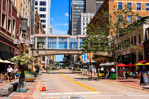 Nicollet Mall street in downtown Minneapolis MN stock photo
