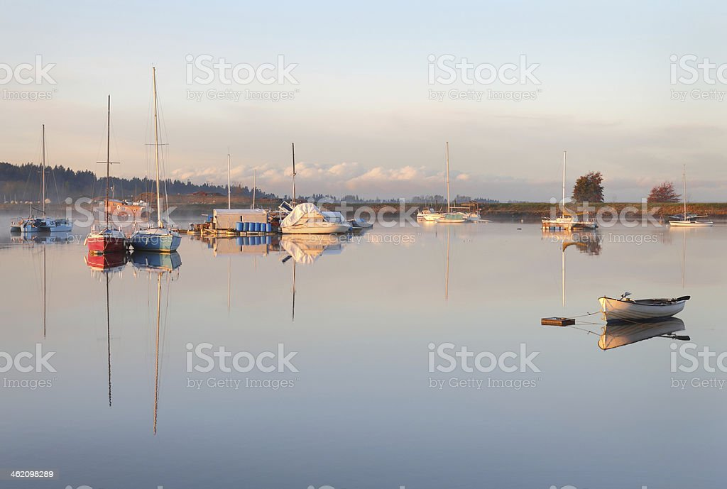 Nicomekl River Dawn Anchorage, British Columbia royalty-free stock photo