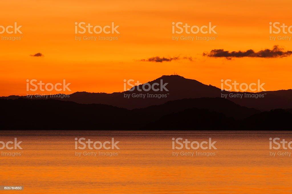 Nicoya Gulf in twilight, Costa Rica stock photo