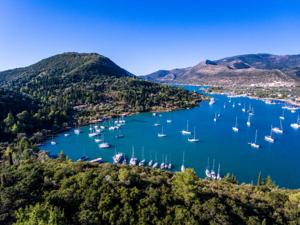 Nidri bay and harbour for yachts in Lefkada, Greece stock photo