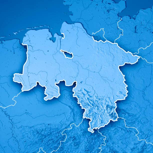 Niedersachsen Bundesland 3D Render Topographic Map Blue Border 3D Render of a Topographic Map of the State of Niedersachsen, Germany. lower saxony stock pictures, royalty-free photos & images