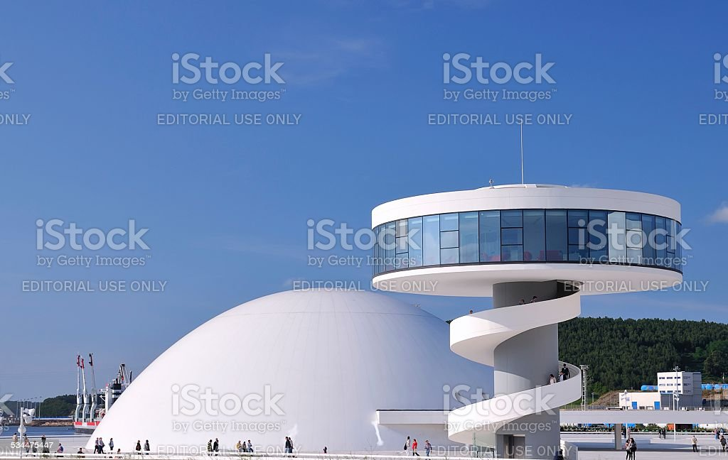 Niemeyer center in Aviles, Spain. stock photo