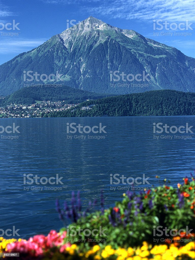 Niesen Kuln Mountain on Lake Thun. Switzerland royalty-free stock photo