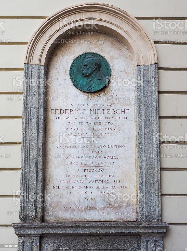 Nietzsche memorial plaque in Turin stock photo