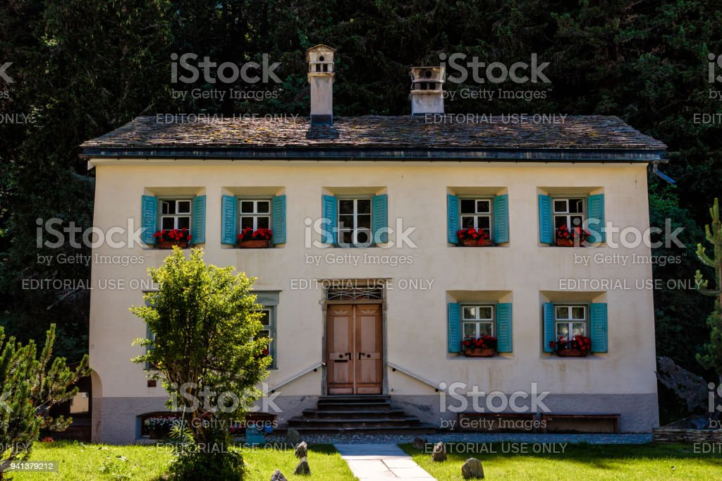 Nietzsche-Haus in the summer, Sils Maria Switzerland stock photo