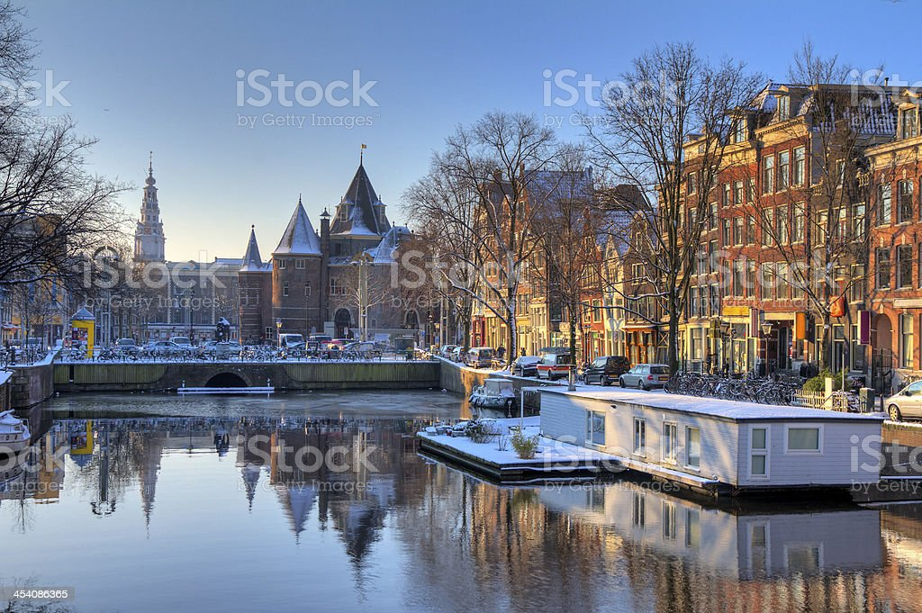 Nieuwmarkt canal stock photo