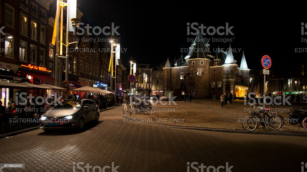 Nieuwmarkt in Amsterdam at night stock photo