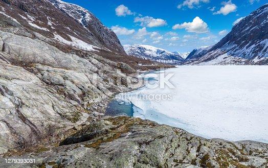 Nigardsbreen glacier in Nigardsvatnet Jostedalsbreen national park in Norway in a sunny day
