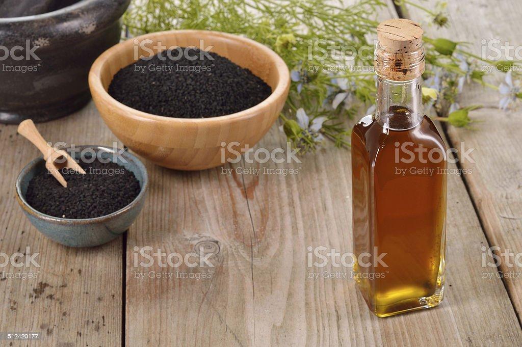 Nigella sativa oil. stock photo