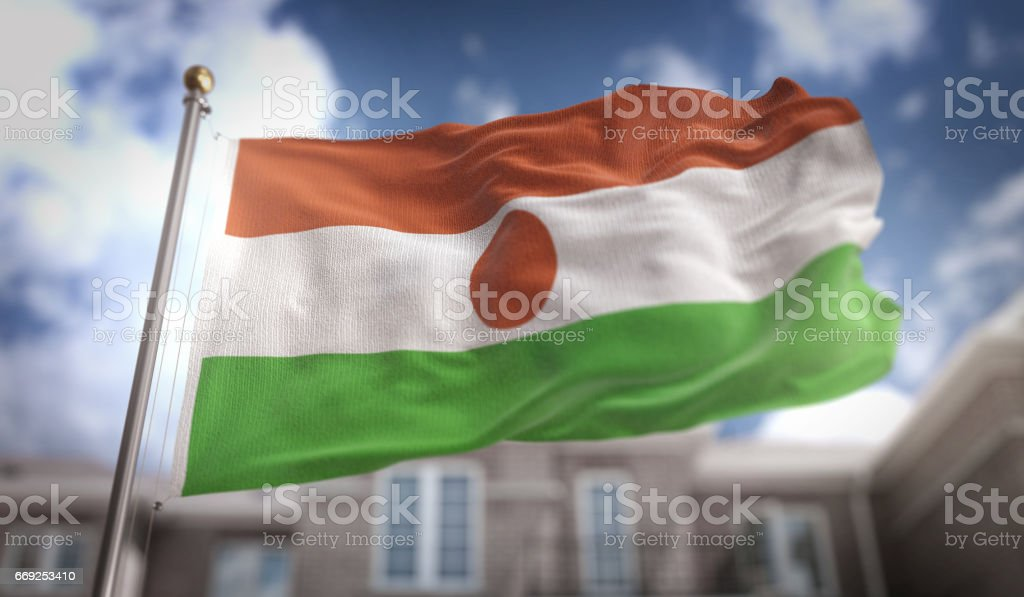 Niger Flag 3D Rendering on Blue Sky Building Background stock photo