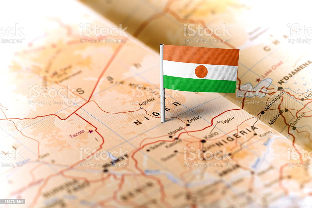 Niger pinned on the map with flag stock photo