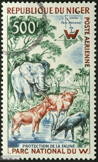 Niger wildlife park with big game animals on a postage stamp