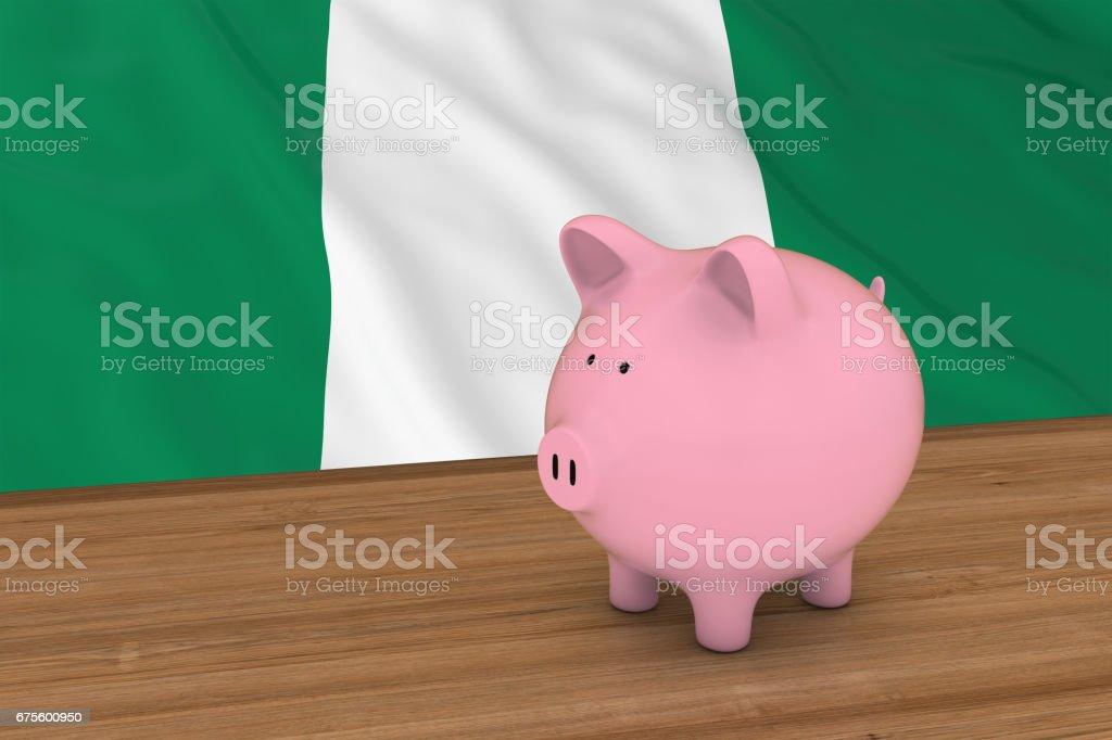 Nigeria Finance Concept - tirelire devant le Nigerian Flag Illustration 3D photo libre de droits