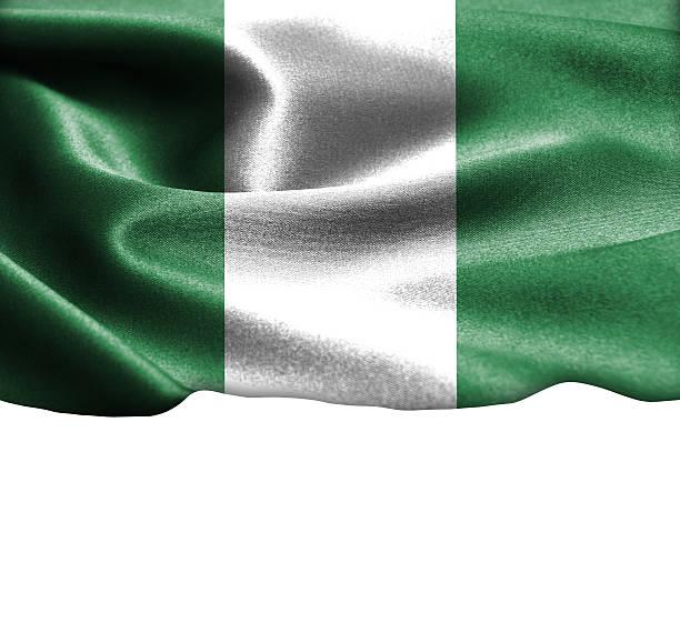 nigeria flagge auf geschmeidiger seide textur platz für text - ramadan 2016 datum stock-fotos und bilder