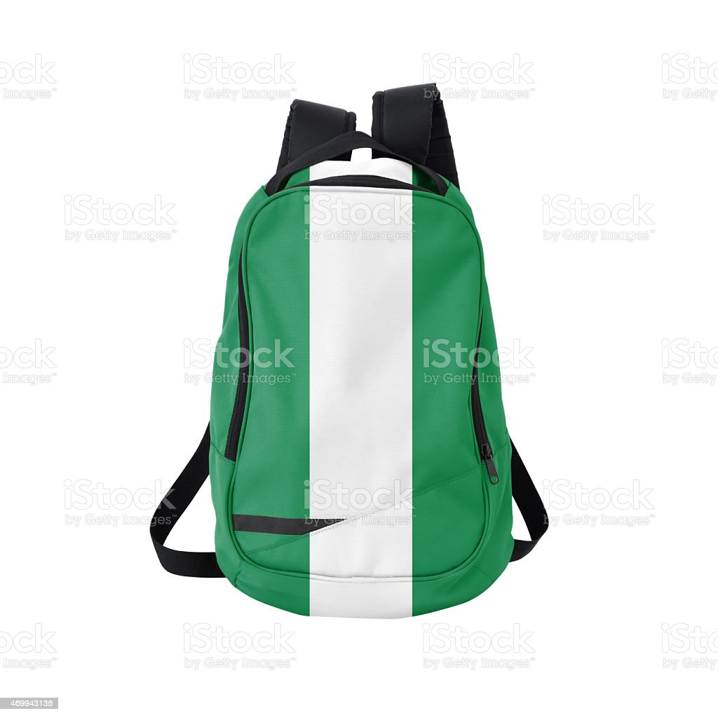 Nigerian flag backpack isolated on white w/ path stock photo