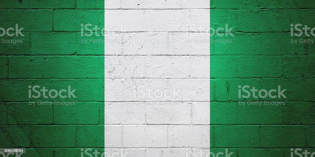 Bandera Nigeria pintado en una pared - foto de stock