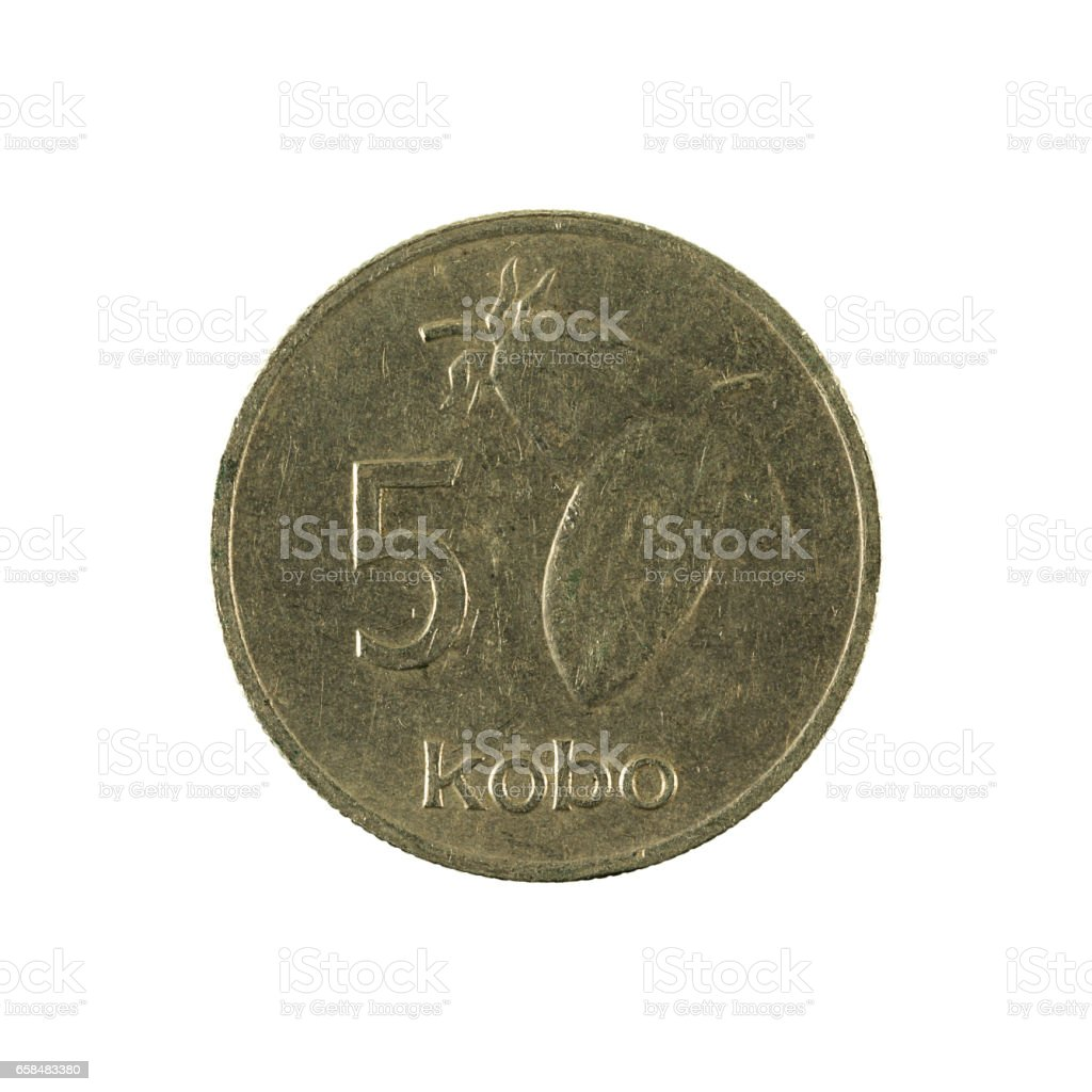 5 nigerian kobo coin (1988) obverse isolated on white background stock photo