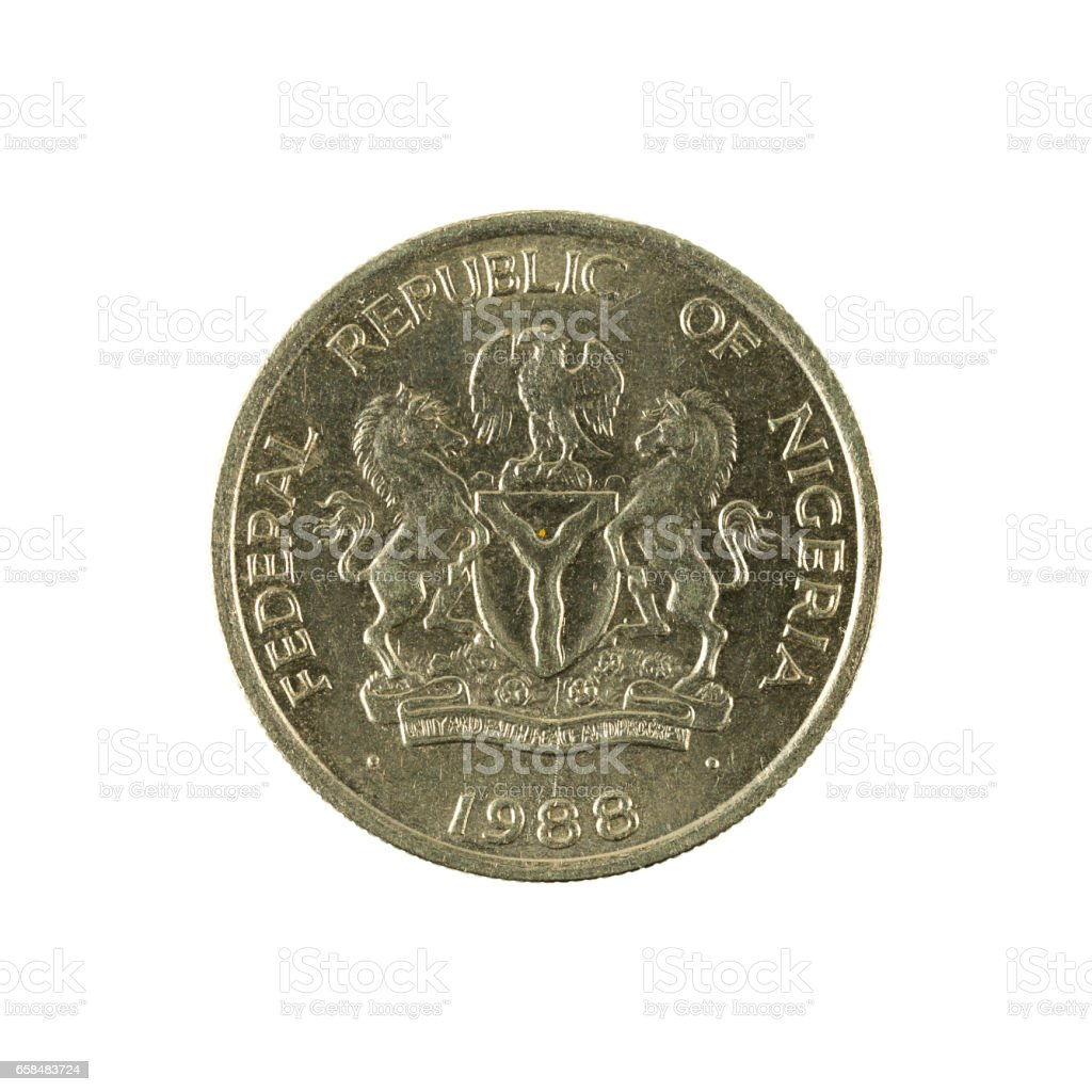 5 nigerian kobo coin (1988) reverse isolated on white background stock photo