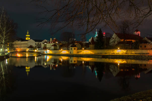 Nigh city Ceske Budejovice with reflection in Malse river stock photo
