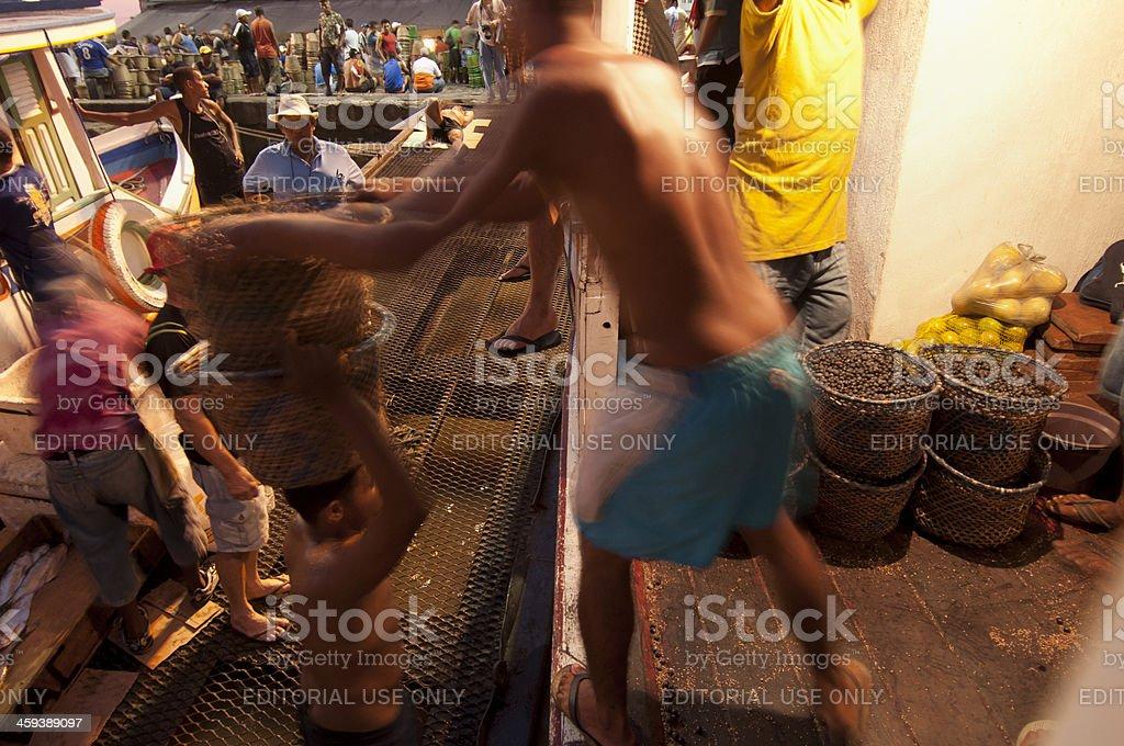 Night activity at Açai market royalty-free stock photo