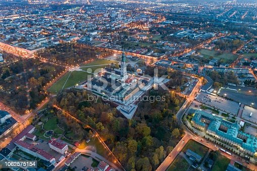 istock Night aerial drone view on Czestochowa and Jasna Gora monastery 1062575154