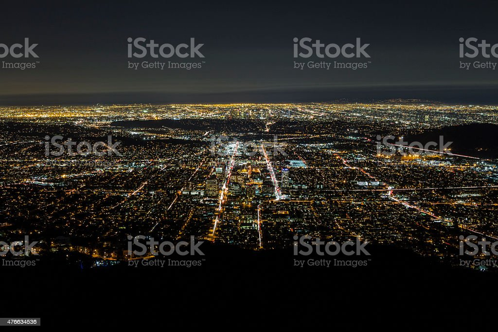 Night Aerial Glendale and Downtown Los Angeles stock photo