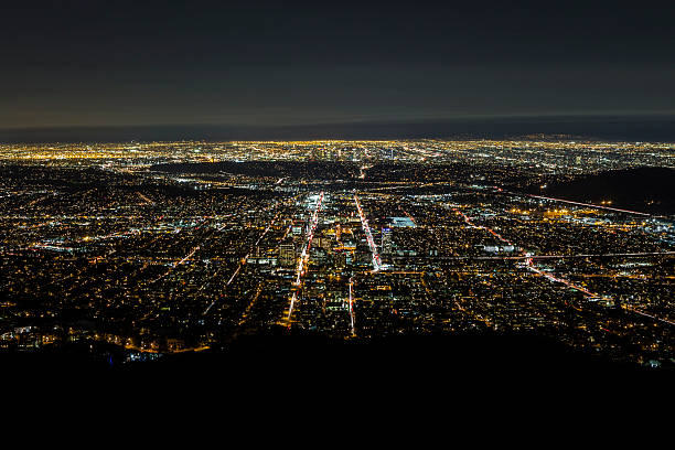 night aerial glendale and downtown los angeles - san fernando valley stock photos and pictures