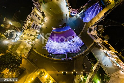 Night aerial view, directly above Ancient Roman stadium in the center of Plovdiv, Bulgaria - (Bulgarian: Площад Римски стадион, Пловдив, България). The picture is taken with DJI Phantom 4 Pro drone / quadcopter.