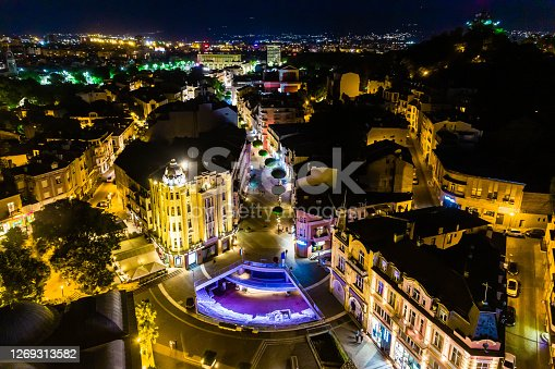 Night aerial view of Ancient Roman stadium in the center of Plovdiv, Bulgaria - (Bulgarian: Площад Римски стадион, Пловдив, България). The picture is taken with DJI Phantom 4 Pro drone / quadcopter.