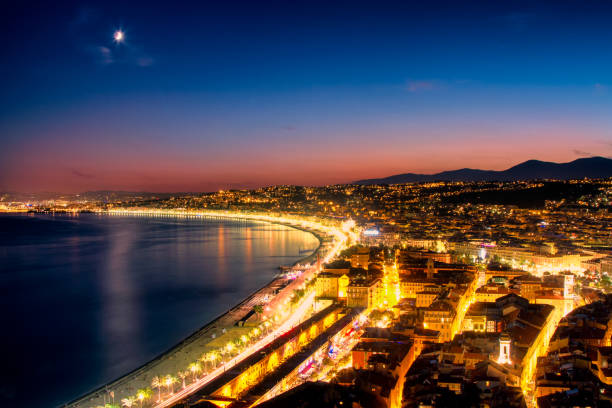 Night aerial view of Nice, Cote d'Azur, French Riviera, France stock photo