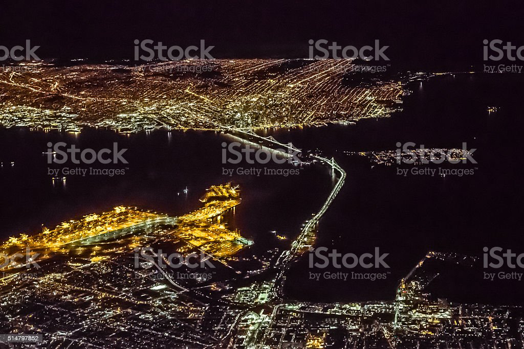 Night Aerial View of San Francisco Bay Area stock photo