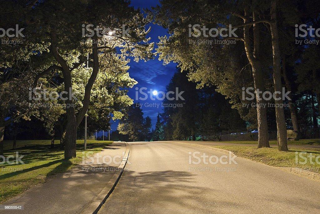 Night alley in Helsinki, Finland royalty-free stock photo