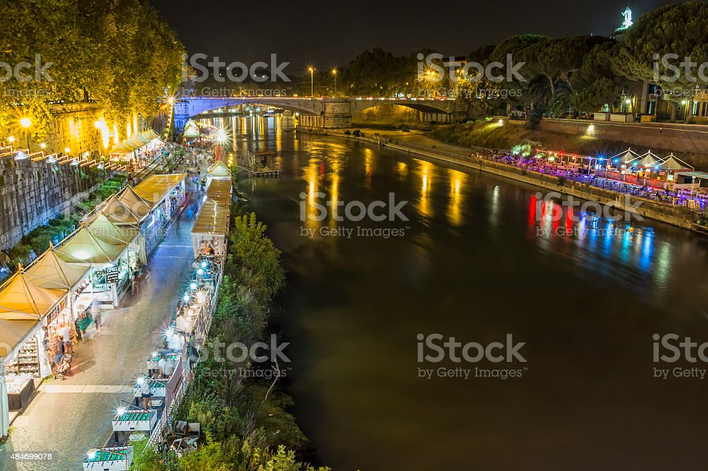 night along the Tiber stock photo