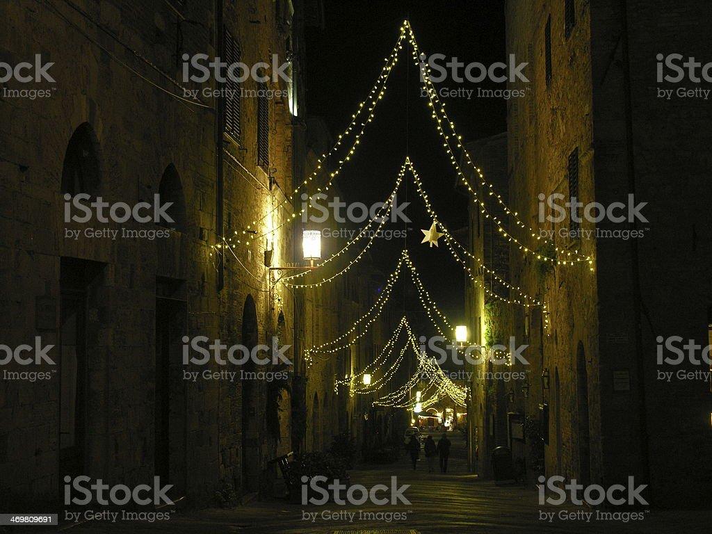Night among the street of San Gimignano stock photo