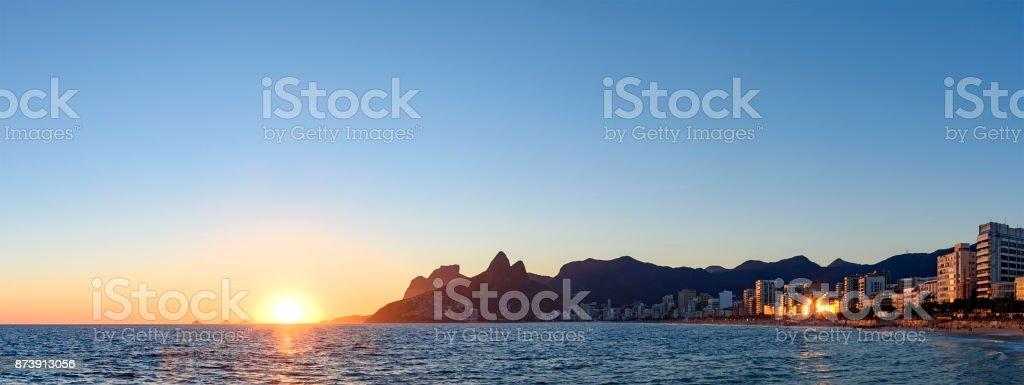 Night arriving at the Arpoador stone, Ipanema beach in Rio de Ja stock photo