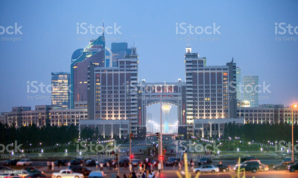 Night Astana stock photo