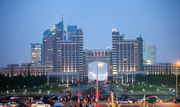 Night Astana stock photo