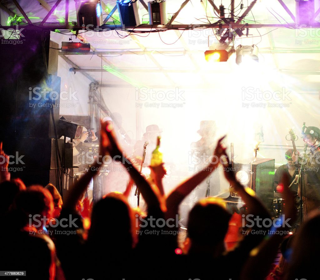 Night at a live music event stock photo