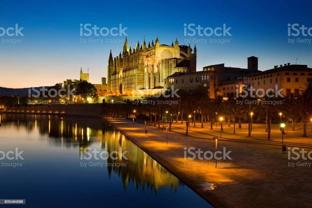 Night at Cathedral of Santa Maria of Palma, Mallorca stock photo
