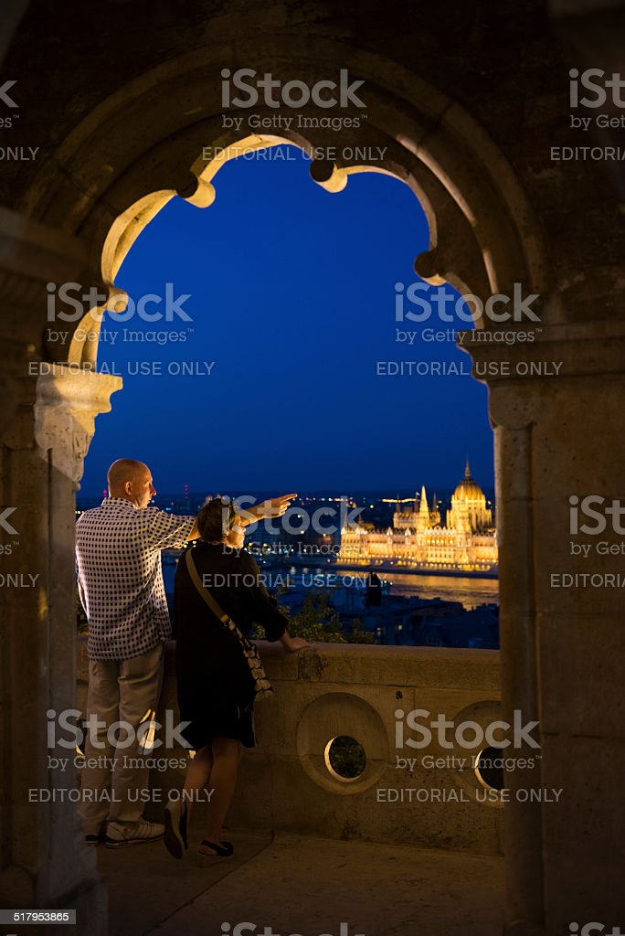 Night at Fisherman's Bastion in Budapest stock photo