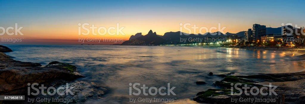 Night at Ipanema beach stock photo