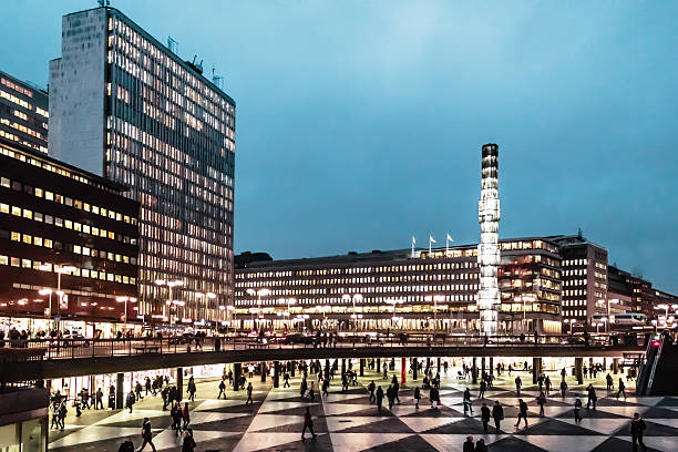 Night at Sergel's Square (Sergels Torg) in Stockholm, Sweden Night photo at Sergel's Square (Sergels Torg) in Stockholm, Sweden stockholm stock pictures, royalty-free photos & images