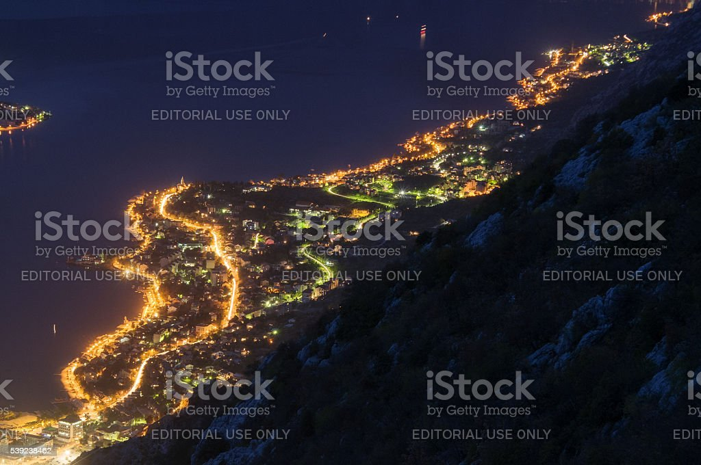 Night at the Bay of Kotor: Dobrota, Muncipality of Kotor royalty-free stock photo
