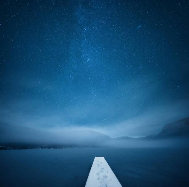 Night At The Frozen Lake stock photo
